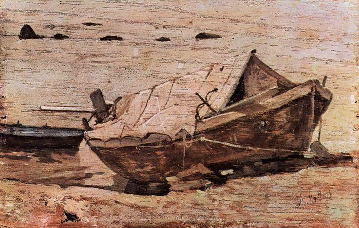 Fattori, Giovanni - Barque sur une plage - Palazzo Pitti - Galleria d'Arte Moderna, Florence