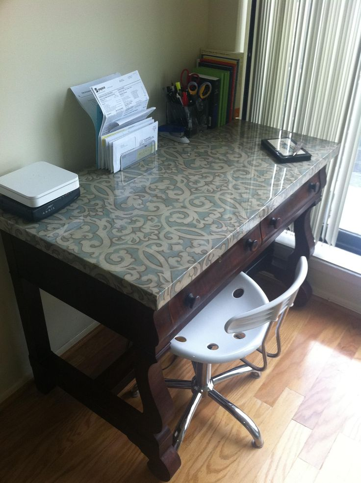 Did this myself - just refinish a thrift-store desk, glue on some pretty cloth and pour on high-gloss epoxy resin.