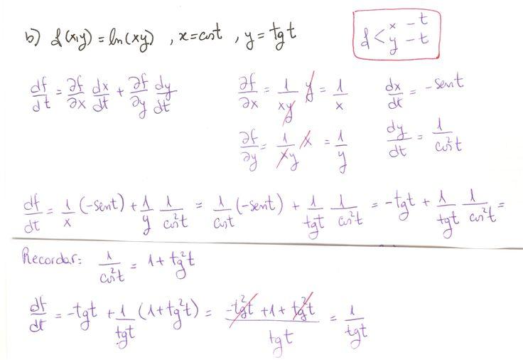 Ejercicio 2 resuelto. Tema: regla de la cadena funciones de varias variables