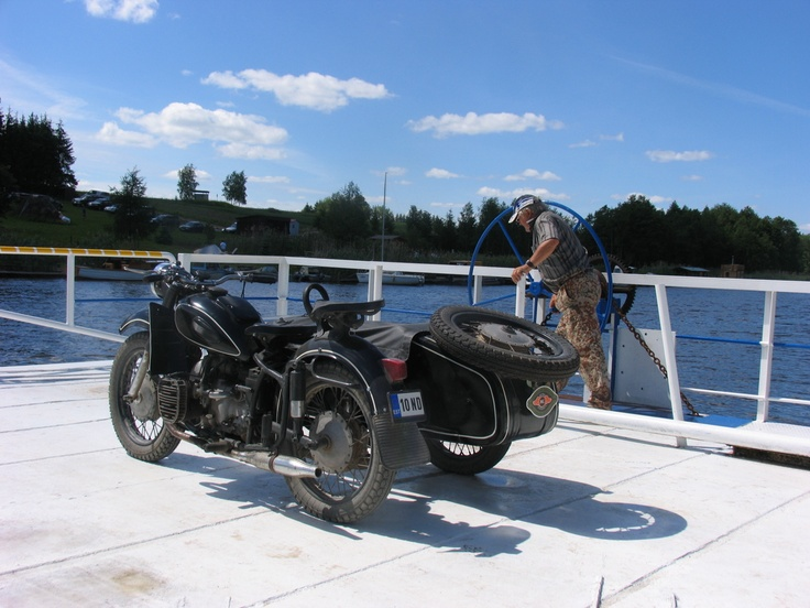 1963 KMZ Dnepr k750 on manual winch ferry, Tartu county, Estonia