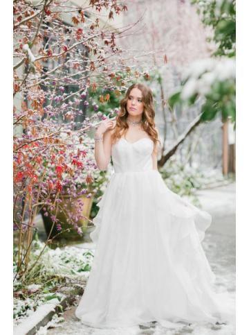 Robe de mariage mousseline col en coeur jardin