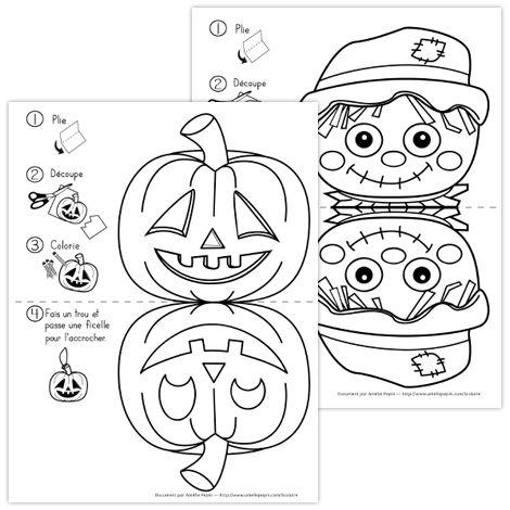 Fichier PDF téléchargeable En noir et blanc seulement 3 pages  Ce document offre 3 choix de décorations pour l'Halloween. Vous pouvez faire des trous et les accrocher dans la classe, elles seront belles des deux côtés!