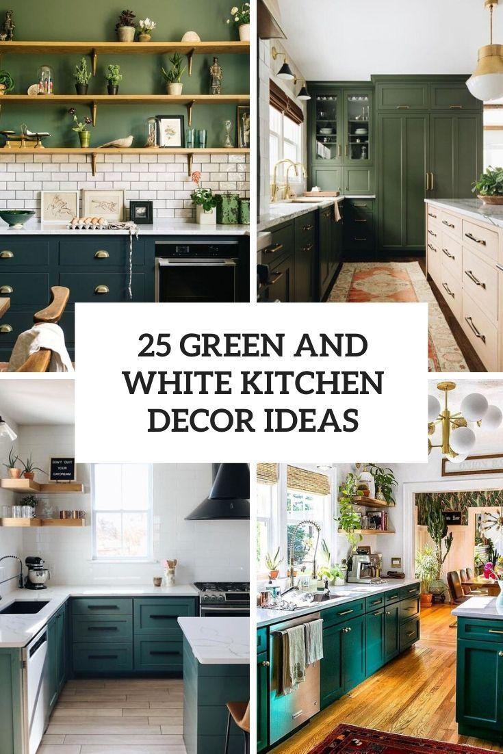 green and white kitchen decor ideas cover in 9   White kitchen ...