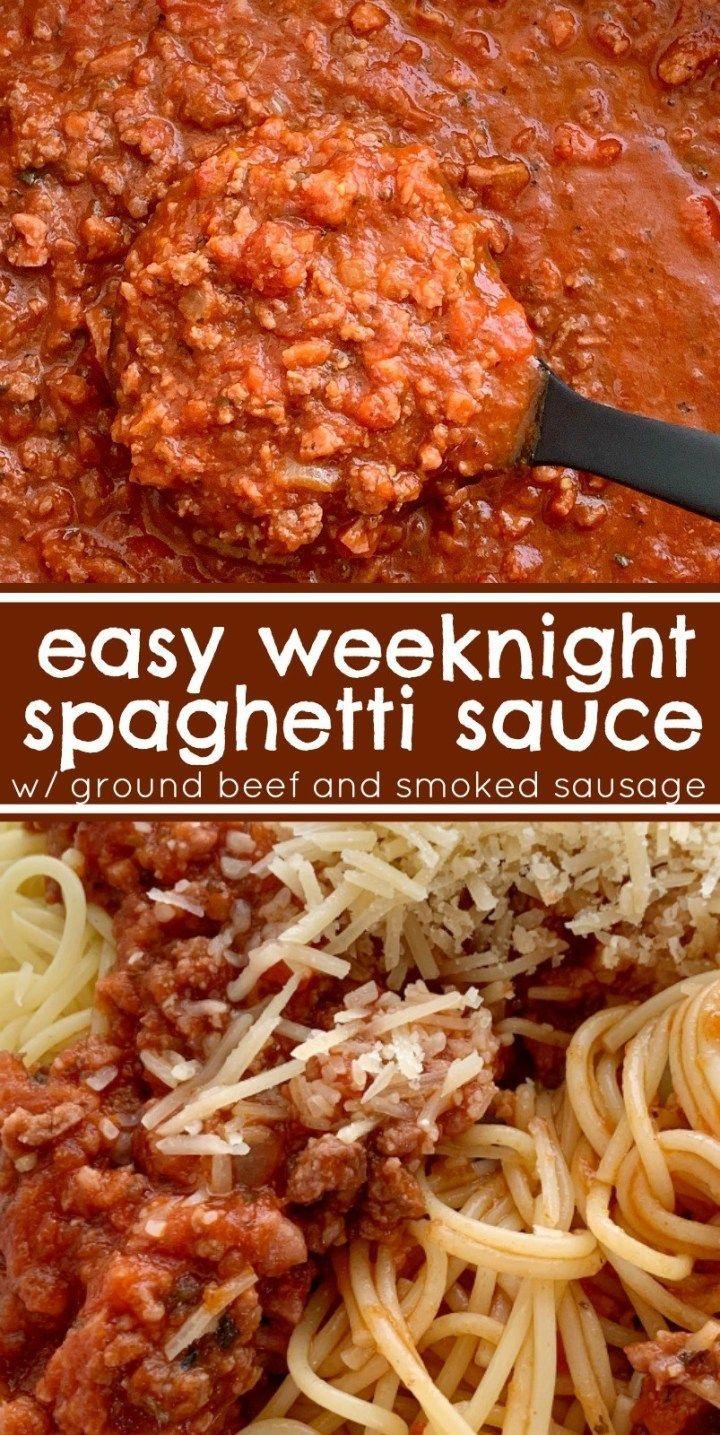 Easy Weeknight Spaghetti Sauce Easy Spaghetti Sauce Easy Dinner Recipe Easy Spagh Spaghetti Sauce Easy Ground Beef Spaghetti Sauce Spaghetti Recipes Easy