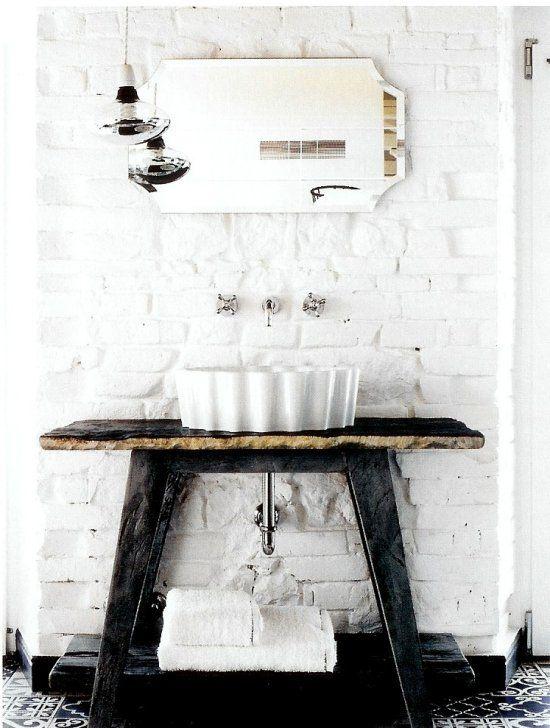 In love with wall taps...  xo--FleaingFrance: Bathroom Design, White Brick Wall, Elle Decor, White Home, Modern Bathroom, Rustic Bathroom, Interiors Design, Bathroom Sinks, White Bathroom