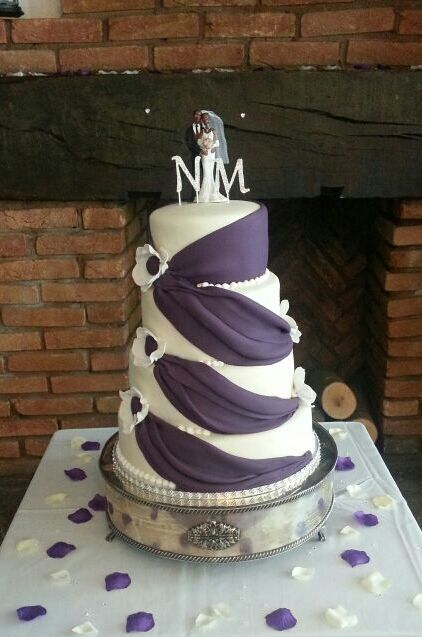 Cadbury Purple & Ivory Sash Wedding Cake