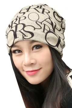 Beige White Pretty Womens Letters Printed Hip-pop Cap Hat