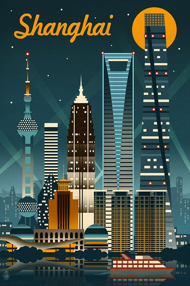 Shanghai china retro skyline no text lantern press artwork giclee gallery print wall decor travel poster multi