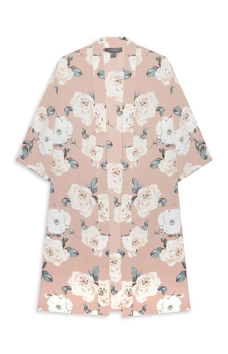 Beige Floral Print Kimono Jacket