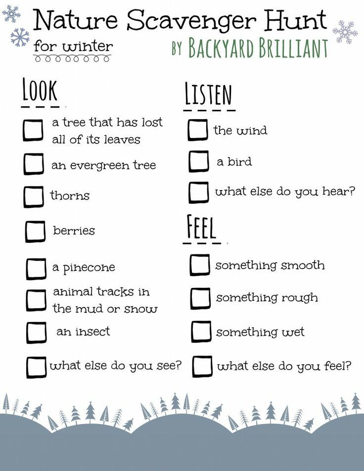 nature scavenger hunt for winter kidsactivities outdoors natureeducation preschoolers. Black Bedroom Furniture Sets. Home Design Ideas