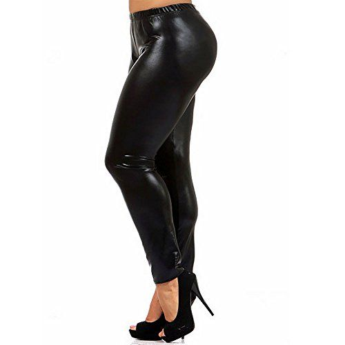 Women's Fleece Lined Plus Size Faux Leather Leggings Warm Cashmere PU Pants (Size XX-Larger). SOFT & COMFORTABLE - Fine texture, soft feeling,Wide elasticized waistband, hight waist,no pressure ,comfortable fit. LIGHTWEIGHT AND STRETCHY - Highly stretchy, never shrinks, full-length, wrinkle-resistant. KEEPING WARM - Thin flocking inside, keep warm and slimming in this winter. SEXY - lift hips,slimming leg,figure-hugging, and creates a nice silhouette,take this to show your plump and slim...