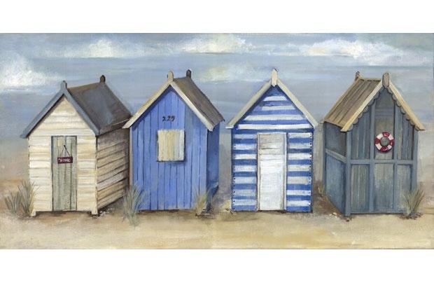 Painted Beach Hut Canvas - 60x30cm - Homebase