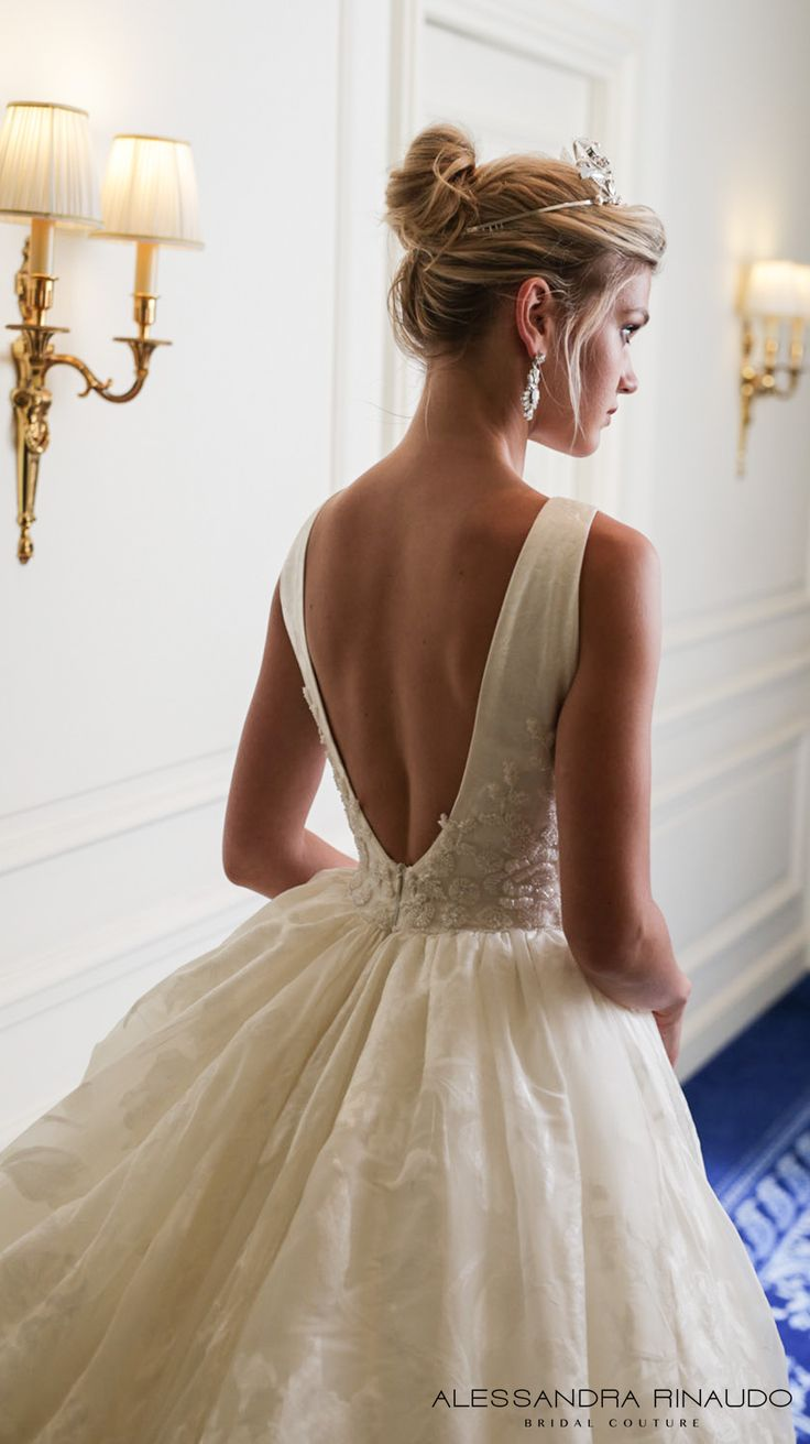 alessandra rinaudo 2017 bridal sleeveless deep v neck full embellishment pretty princess a  line ball gown wedding dress low v back chapel train (bridget) zbv #princess
