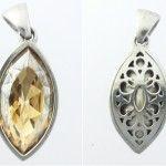 Golden Shadow swarovski crystal, sterling silver pendant