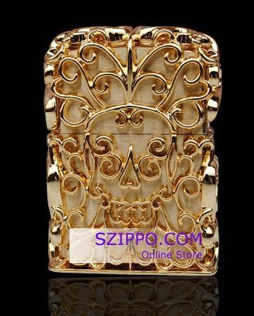 Japanese 24K Gold Skull Jacket Zippo Lighter