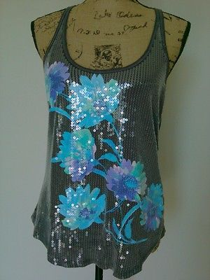SEQUINED FLORAL RACER BACK TANK TOP Shirt AEROPOSTALE Gray Turquoise Sz SMALL auc