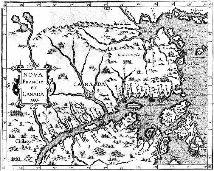 A map of Canada and New France, 1597, showing the indefinite nature of knowledge concerning the area before 1600.