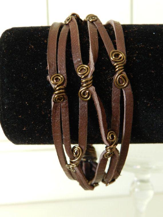 Mesh Designed Leather bracelet with Bronze wire by CynthiaDobitz, $15.00