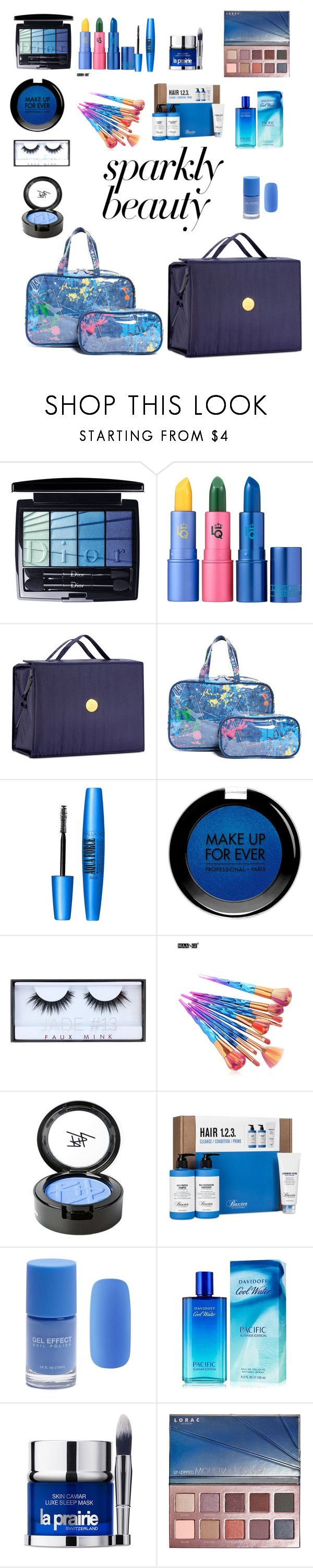 """""""#PolyPresents: Sparkly Beauty"""" by jesica-d-psc ❤ liked on Polyvore featuring beauty, Christian Dior, Lipstick Queen, Joy Mangano, Forever 21, MAKE UP FOR EVER, Huda Beauty, Beauty Is Life, Baxter of California and Davidoff"""