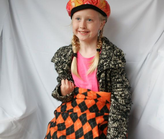 Orange & Black Argyle Fleece Throw Blanket with Built in Seat Pad and Carrying Handle