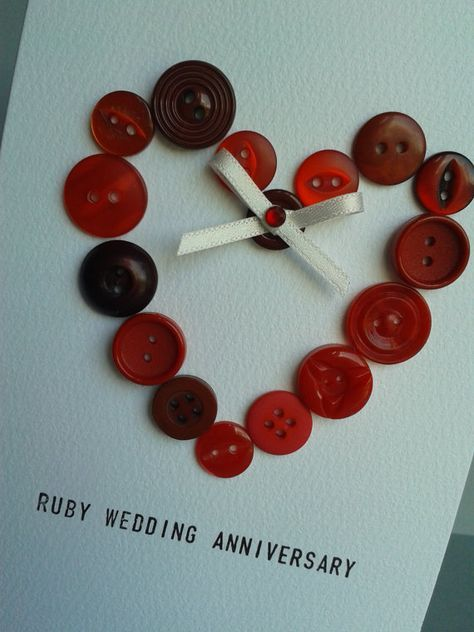 Ruby 40th Wedding Anniversary Button Heart Card by GurdGifts