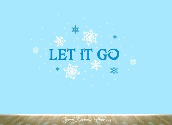 Frozen Decal Let It Go Wall Sticker Snow Winter Music Children Snow Cold Frozen Freeze Ice Sticker Song    1 - LET IT GO text • 22W x 4H • 053