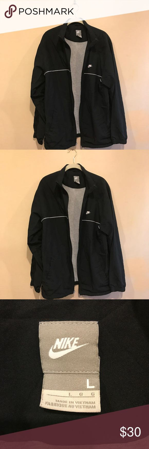Nike Men's Black Sport Jacket sz L Nike Men's Sport Jacket. Only flaw is zipper puller is missing.  Fantastic jacket. In great shape no tears or holes.  Lined interior with a jersey material. Approximate Measurements Length 30 in.  Pit to pit 20.5 in. Nike Jackets & Coats Performance Jackets