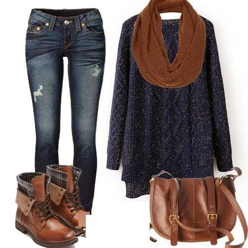 Cute fall outfit - with jeans ,scarf,sweater  & shoes