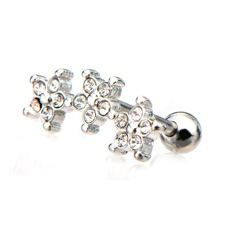 Check our New Cartilage Barbell with Three Flower in Clear CZ Cluster End and Ball End. Catch us at:http://www.bodyvibe.com/products/14ff0d38c7 #CartilageEarrings #Gem #BodyVibe #Barbell #316L #StainlessSteel