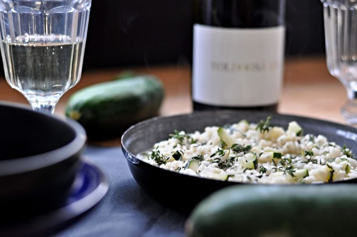 Zucchini risotto with white wine