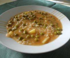 Minestra riso, piselli e patate