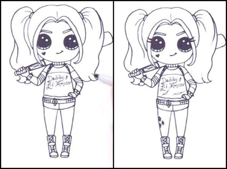 17. Теперь сделаем персонажа ещё более узнаваемым, с помощью надписи и разрывов на футболке, а так же тату на ноге. Осталось только нарисовать сетчатые колготки, раскрасить всё фломастерами или карандашами и...