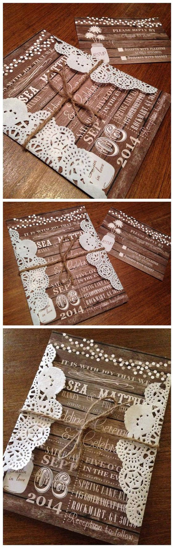 Rustic Wood Country fall wedding invitations http://www.weddinginclude.com/2015/06/amazing-colors-for-fall-wedding-invitations/