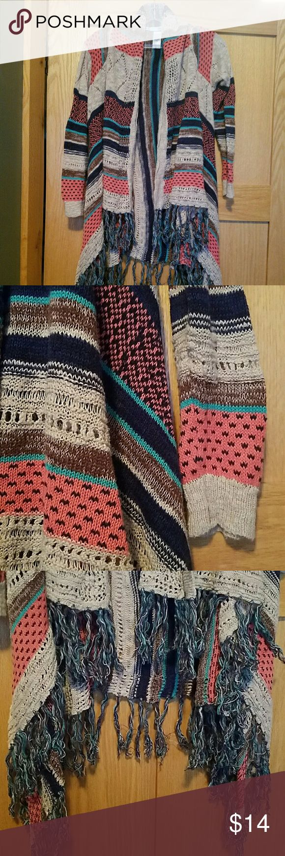 Maurices Multi-color Shrug Sweater with fringe Maurices shrug sweater with fringe on bottom.  Fun colors!! Maurices Sweaters Shrugs & Ponchos