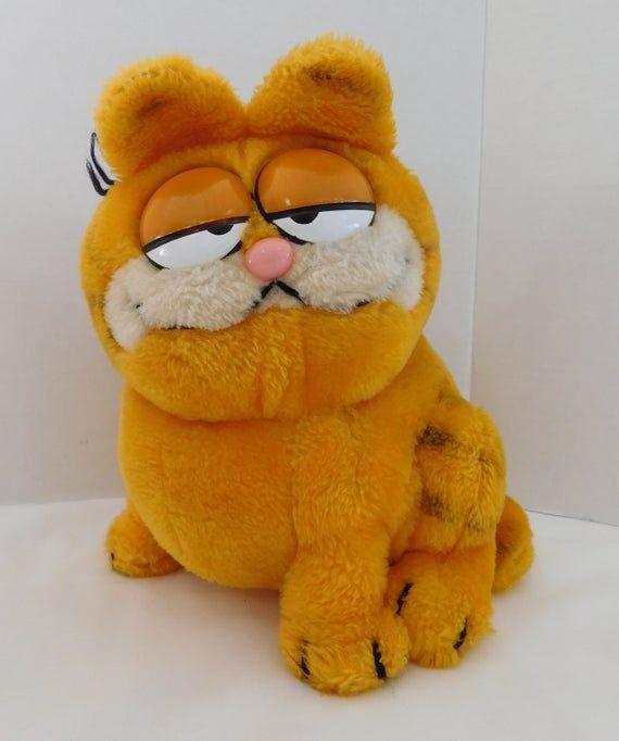 Three Vintage Garfield The Cat Odie Dakin Plush Large Garfield Plush Vintage