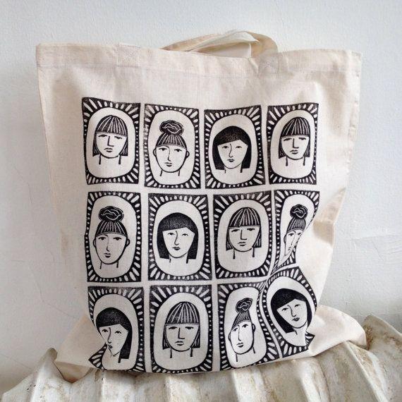 Three Sisters Block-Printed Cotton Tote Bag by RarePress on Etsy