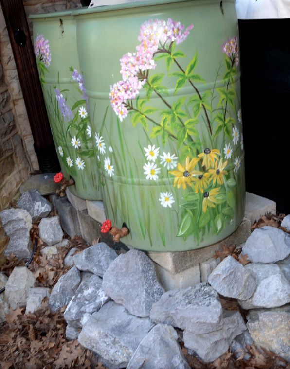 Painted Rain Barrels For Sale | Rain barrels at Unitarian Universalist Church of Lancaster (April 19 ...