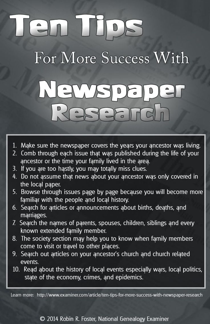 Newspapers are one of my favorite genealogy resources. Robin Foster gives 10 searching tips here. ~ Collecting Cousins