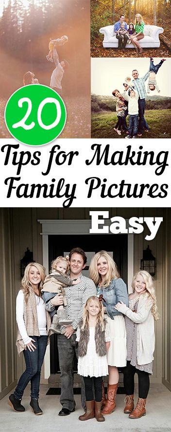 20 Tips for Making Family Pictures Easy. Tips, tricks, hacks, shopping hacks, money hacks, cleaning, life hacks, life tips.