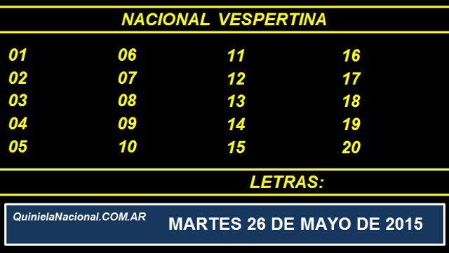 Quiniela Nacional Vespertina Martes 26 de Mayo de 2015. Fuente: http://quinielanacional.com.ar Pizarra del sorteo desarrollado en el recinto de Loteria Nacional a las 17:30 horas. La jugada Vespertina se efectuó con total normalidad.