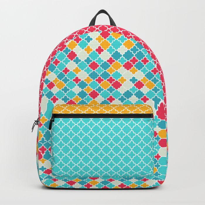 Quatrfoils in turquoise, multicolor Backpack