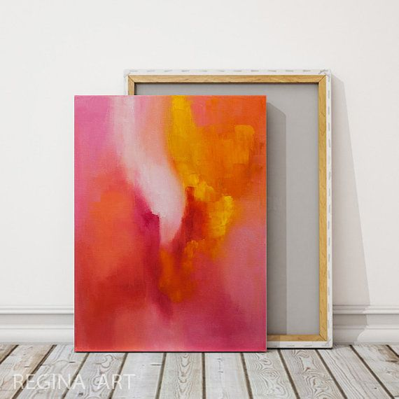 Red and Orange Abstract Painting, Acrylic Painting, Pink Coral Orange Small  Abstract Wall Art, Colourful Abstract Canvas