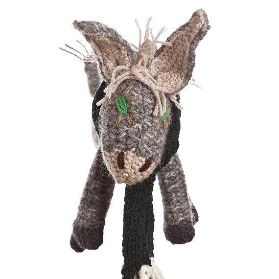 UGHINO little donkey friend of children  wool puppet  di ZOODILANA, €91,00