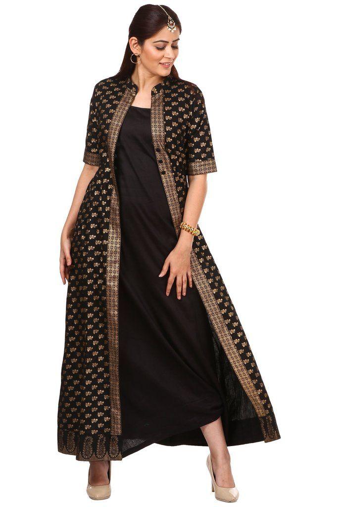Black And Gold Long Jacket Kurta Dress Long Jacket Dresses Long Kurta Designs Kurta Dress