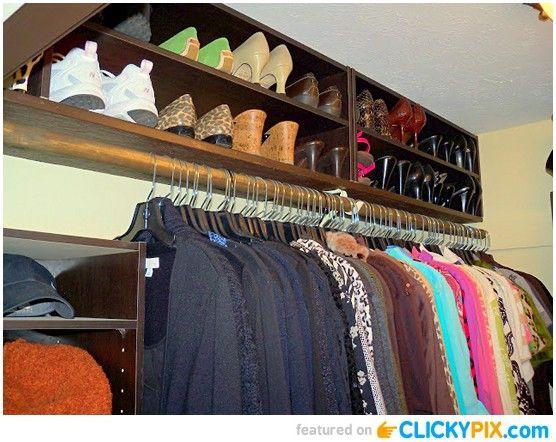 19 DIY Closet Organization Ideas   Sideways Bookshelves On Top Of Racks To  Add More Storage