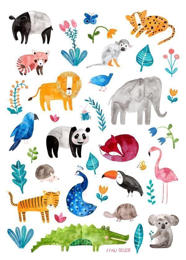 Tierposter Von Frau Ottilie Fur Den Kindergarten Fur Kinder Fur Jungen Und Madchen Kinderzimmer Den F Kinder Zimmer Tierplakate Poster Kinderzimmer