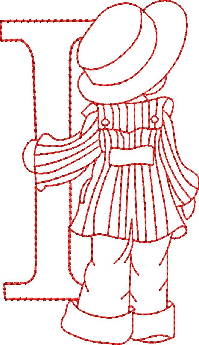 Sunbonnet Alphabet Designs, Redwork Embroidery