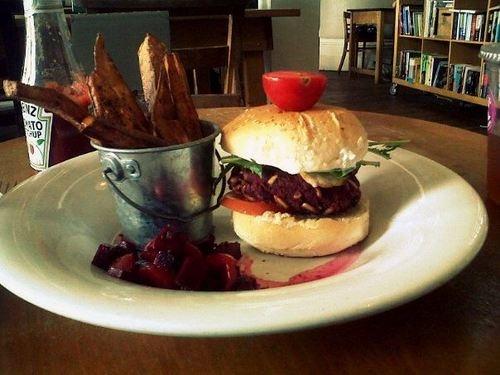 Boston Tea Party veggie burger and sweet potato fries are amazing!