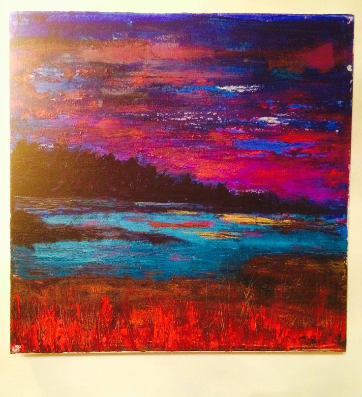 Woodland at sunset, acrylic on canvas 30x30 cm, by kjersti dirdal
