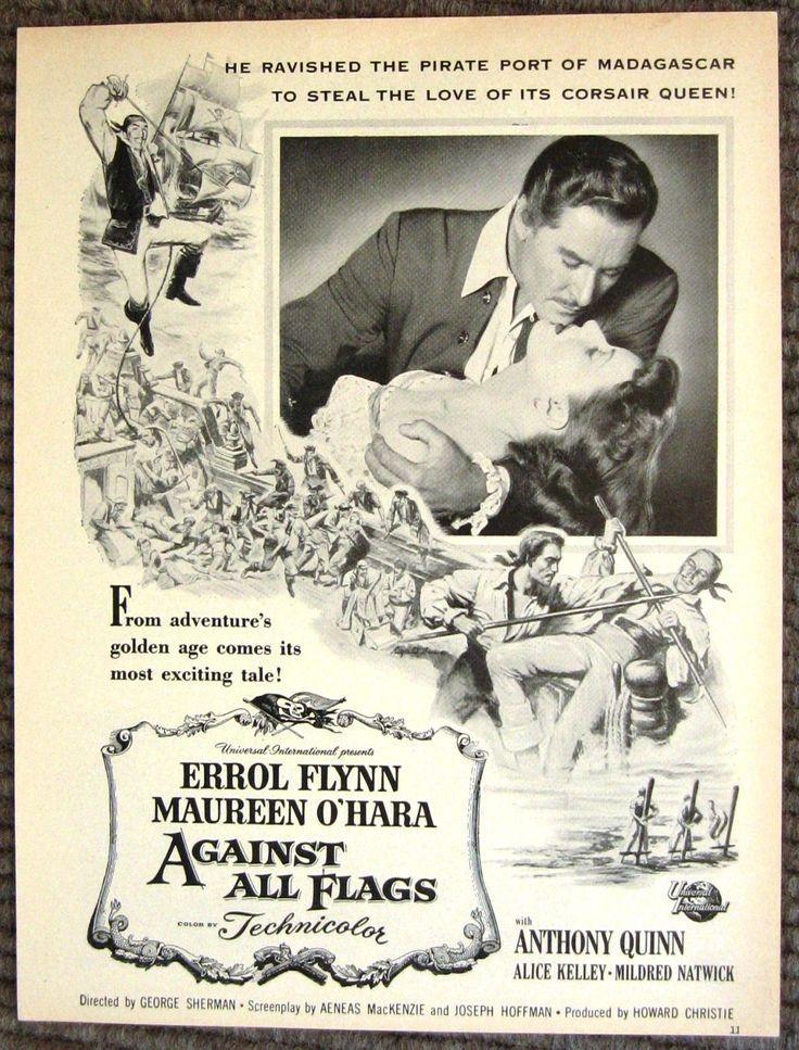 Against all Flags Magazine ad, Errol Flynn and Maureen O'Hara
